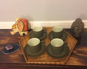 """Four 1960s Denby """"Camelot"""" Mugs and Saucers"""