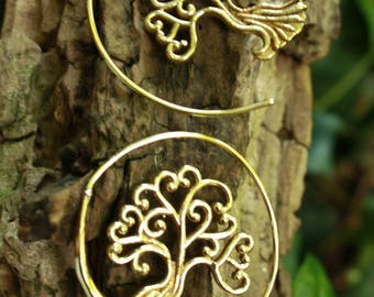 NEW Tree of Life Brass Tribal Spiral Earrings