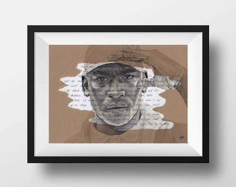 ORIGINAL Skepta Portrait Drawing with Shutdown Lyrics - A4 Size Art Signed