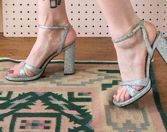 90s Twinkle Toes Sparkle Strappy Heels 6.5