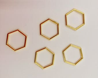 Gold Hexagon Stitch Markers