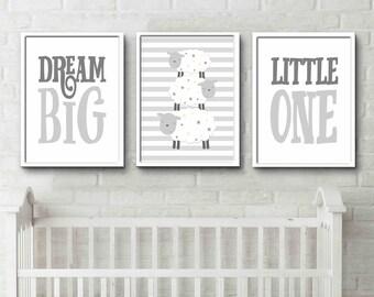 Grey Bedroom Yellow stars Print Dream Big Little One Sheep Prints sheep design night time prints gender neutral nursery art