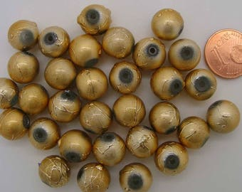 30 perles environ Rondes 10mm verre peint JAUNE DORE DIY création bijoux