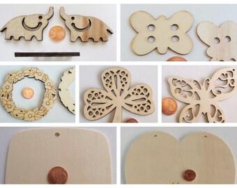 Supports Bois a décorer ou personnaliser Carré Coeur papillon Trèfle Elephant Couronne fleurs plaque DIY loisirs créatifs pyrogravure