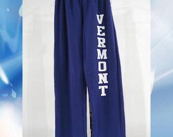 Vermont Sweatpants // 8oz // White Vermont on Purple Sweatpants // Vermont Sweatpants // Vermont clothing // 802 clothing // Lovermont
