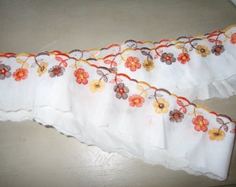 embroidered vintage orange taupe lace