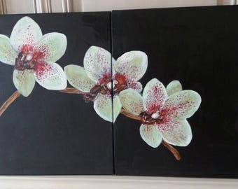 Orchid diptych made with acrylic