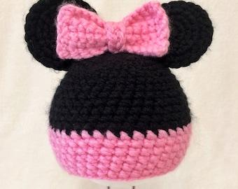 Newborn Beanie / Crochet Beanie / Photo Prop / Minnie Mouse / Disney Inspired / Infant Photo Prop