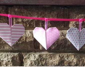 Spotty pink paper bunting, nursery, party, baby shower, Christmas, children's room, pink, spotty