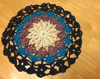 Crocheted Mandala Doily/center piece 11""