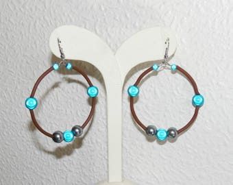 Hoop earrings with magical turquoise and Hematite beads