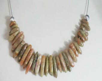 Necklace gemstones unakite