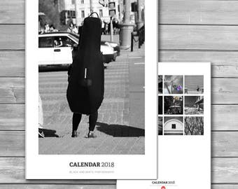 Black and White Calendar 2018, Monthly Wall Calendar, New Calendar, Photo Calendar, 2018 wall calendar, A3 calendars, bw photography, print