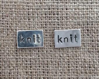 knit sterling stud earrings