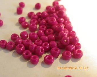 200 large 4 mm fuschia glass seed beads