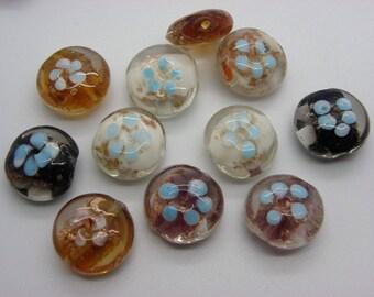 11 Round Lampwork beads with green, beige, dark blue 20 mm