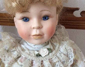 Vintage doll, bisque doll, French porcelain, collectible dolls, 1970s reproduction, vintage toys, glass eyes, French country, cottage chic