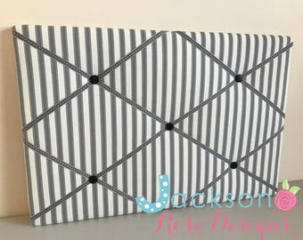 Ticking Stripe Grey Pin/Notice/Memo/Photo Board/Custom made, Choice of sizes, FREE UK postage