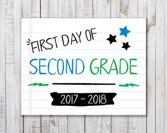 Printable  First Day of School Sign,  Back to School Printable, Boys or Girls Photo Prop, Second Grade Sign, Back to School Photo Prop, 2nd