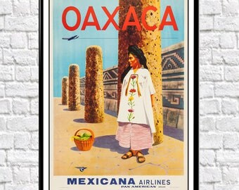 Mexican Travel Poster South American Travel Art Oaxaca Mexico Poster Mexican  Prints Mexican Decor Mexico Decor