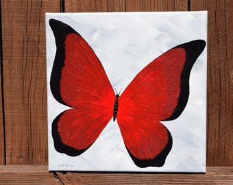 Original Red and Black Butterfly Handpainted on a 10 x 10 canvas