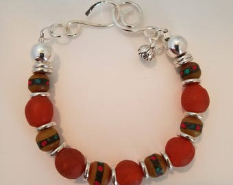 Boho Dark Orange and Copal Bracelet