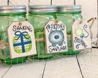 Piggy Bank for Boys, Rustic Mason Jar Bank Tags, Personalized Kids Bank, Dave Ramsey Style Money Bank Set, Save Spend Share, Hand Painted