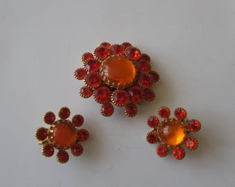 Vintage Orange Rhinestone Brooch & Clip Earrings  Pin Set