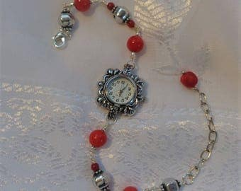 Boho Coral Bracelet Watch- Red Coral Watch- Coral and Silver Watch- Bohemian Watch- Gypsy- Hippie- Unique Timepiece- Beautiful Watch