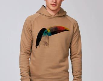 Sweat-shirt à capuche Homme en coton bio commerce équitable Camel Visuel Toucan