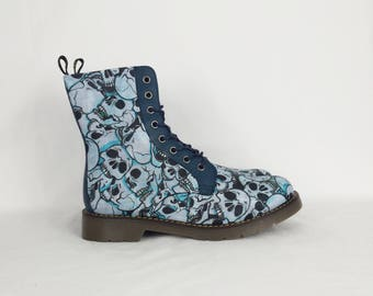 Skull shoes, blue boots, gift for her, cosplay, skull, women boots, alternative, goth clothing, custom shoes, rockabilly, customised boots