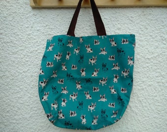 French Bull Dog Tote bag in Teal