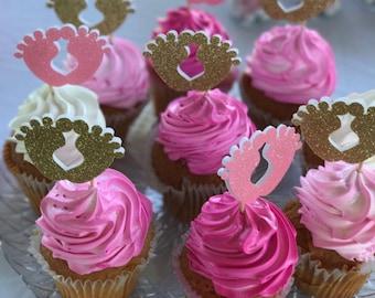 Baby Feet Cupcake Topper- babyshower- Cupcake Toppers- Baby Shower Cupcake toppers- Baby Feet Theme Cupcake Topper