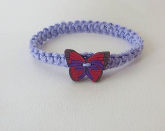 Cotton bracelet crocheted with a butterfly in Fimo