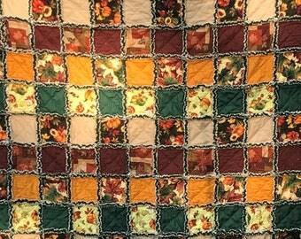 "Autumn Fall Rag Quilt 57""x62"" Pumpkins Leaves Gourds Gold Brown Green Handmade Rag Quilt Throw Lap Quilt"