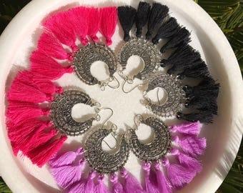Black  and silver tassle boho earrings