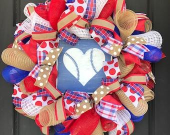 Baseball wreath - baseball decor - baseball front door - summer wreath - burlap baseball wreath - burlap summer wreath - boymom baseball