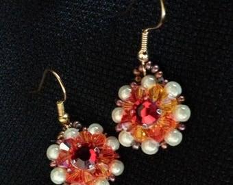 """Earrings """"lima"""" Crystal swarovski fire opal"""