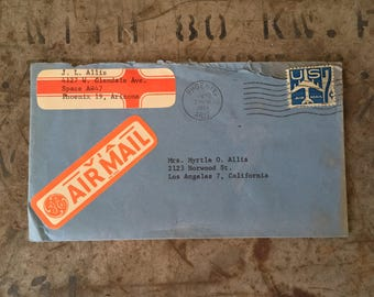 Vintage Letter, Letter Ephemera Paper Goods, Letter Sent on Jan 23rd 1961 GE AIRMAIL, US 7c Blue Airmail Stamp, Scrapbook Collectible Letter