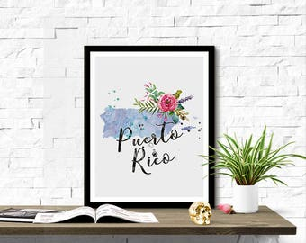 Instant Download Puerto Rico Shape Outline Floral 8x10 inch Poster Print - P1218