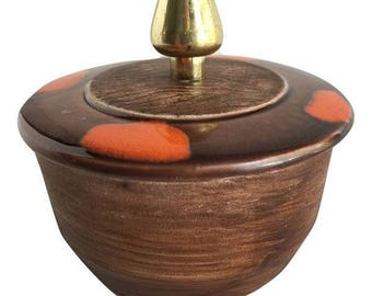 Mid Century Modern Lidded Pottery Dish with Gold Finial and Orange Design