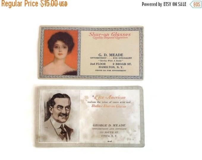 Clearance Antique Shuron Eyeglass Ink Blotter Advertisements
