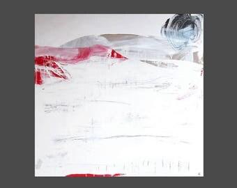 abstraktes bild mit weiß und rot