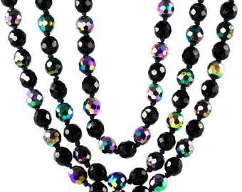 Vintage Black Iridescent Three Strand 1950's Statement Necklace