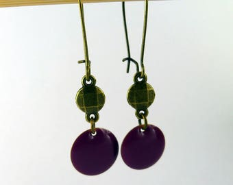 Earrings double circles and Burgundy enamel sequin