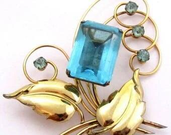 Harry Iskin Aqua Glass Flower Vintage Gold Filled Floral Brooch Pin*23G*D258