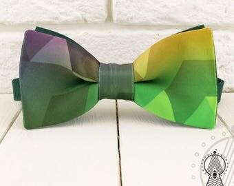 Green Bow Tie, Polygon bowtie, Geometric pattern, Men's bow tie, Women's bow tie, Children's bow tie