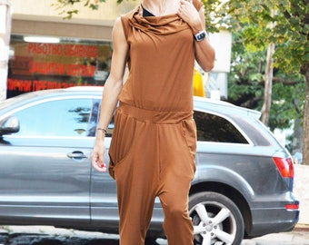 Women's Jumpsuit, Urban Casual Brown Jumpsuit, Cotton Union Suit, Harem Jumpsuit, Loose Drop Crotch Jumpsuit by SSDfashion