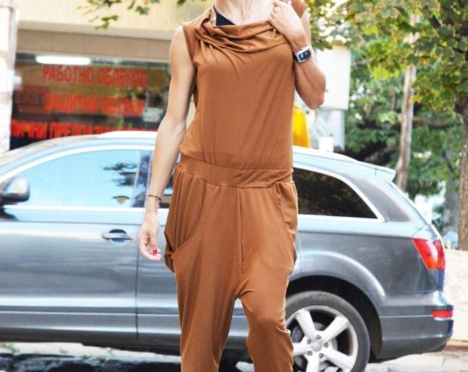 Womens Jumpsuit, Urban Casual Brown Jumpsuit, Cotton Union Suit, Harem Jumpsuit, Loose Drop Crotch Jumpsuit by SSDfashion