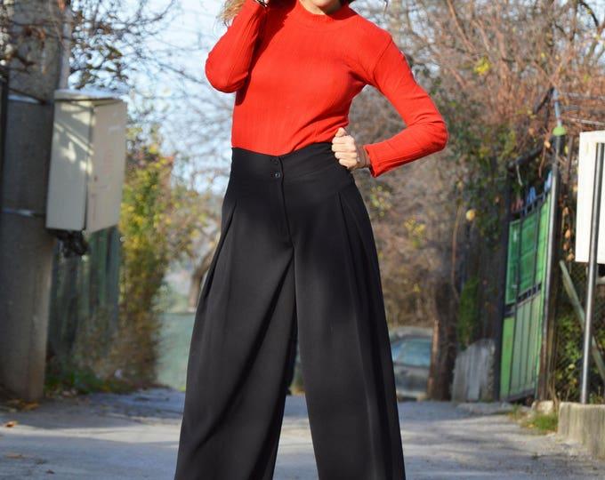 Women Pants, Plus Size Black Pants, Elegant Pants, Extravagant Trousers, Office Pants, Long Pants,Fitting Pants,Wide Leg Pants by SSDfashion